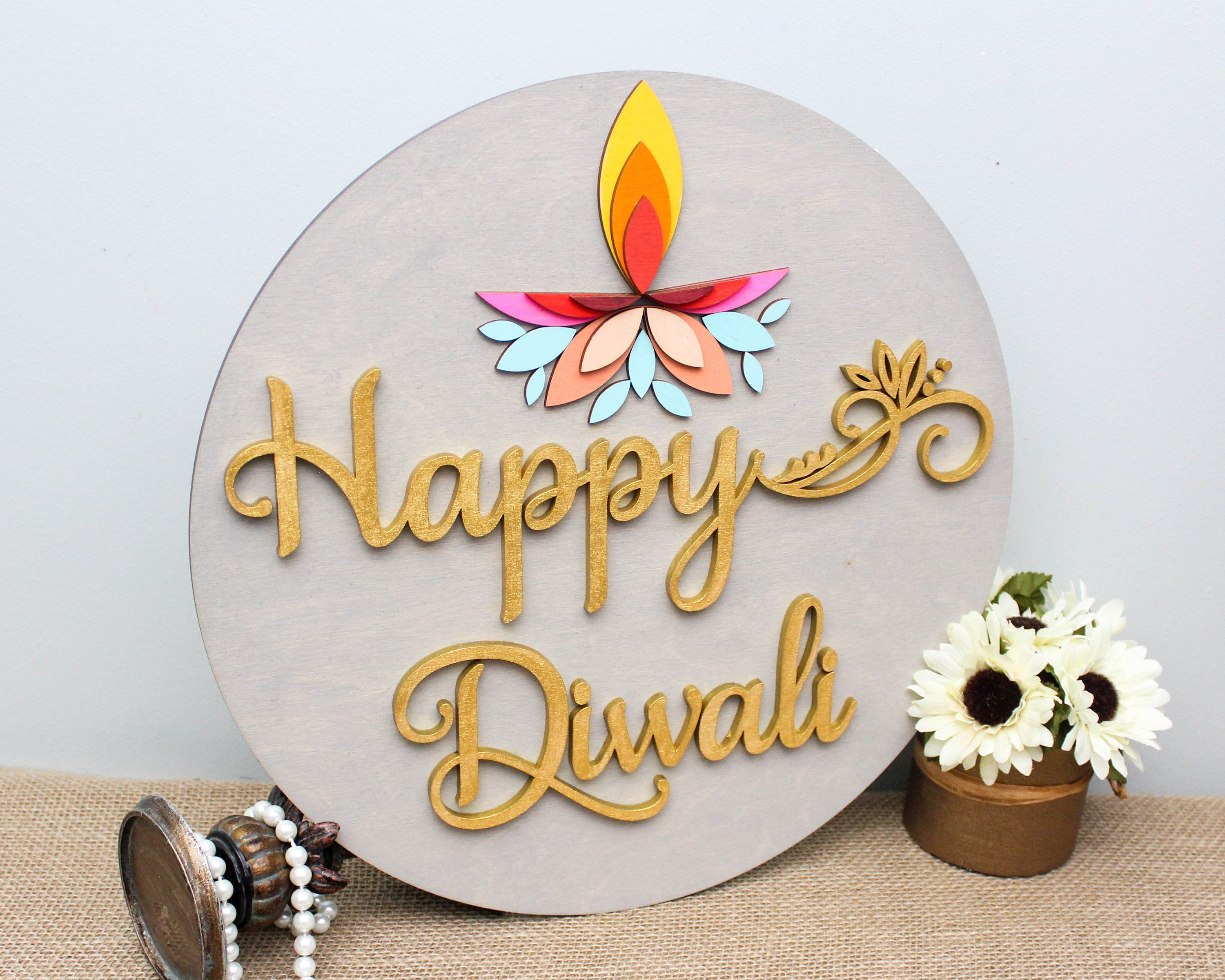 Happy Diwali Decoration, Diwali Gifts, Diwali Decor, Deepavali Diya Decor, Diwali Signs, Hindu Festival of Lights, Indian Home Decor