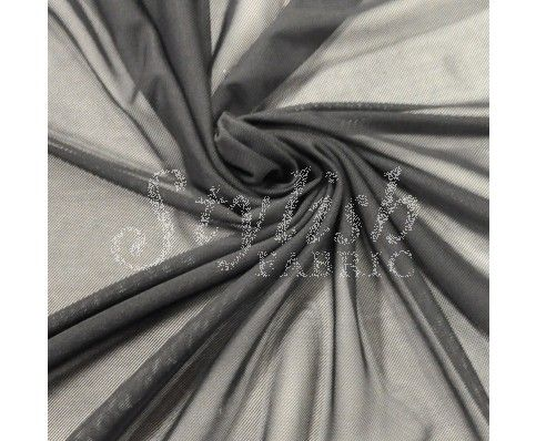 Black Nylon Power Mesh Fabric by the Yard