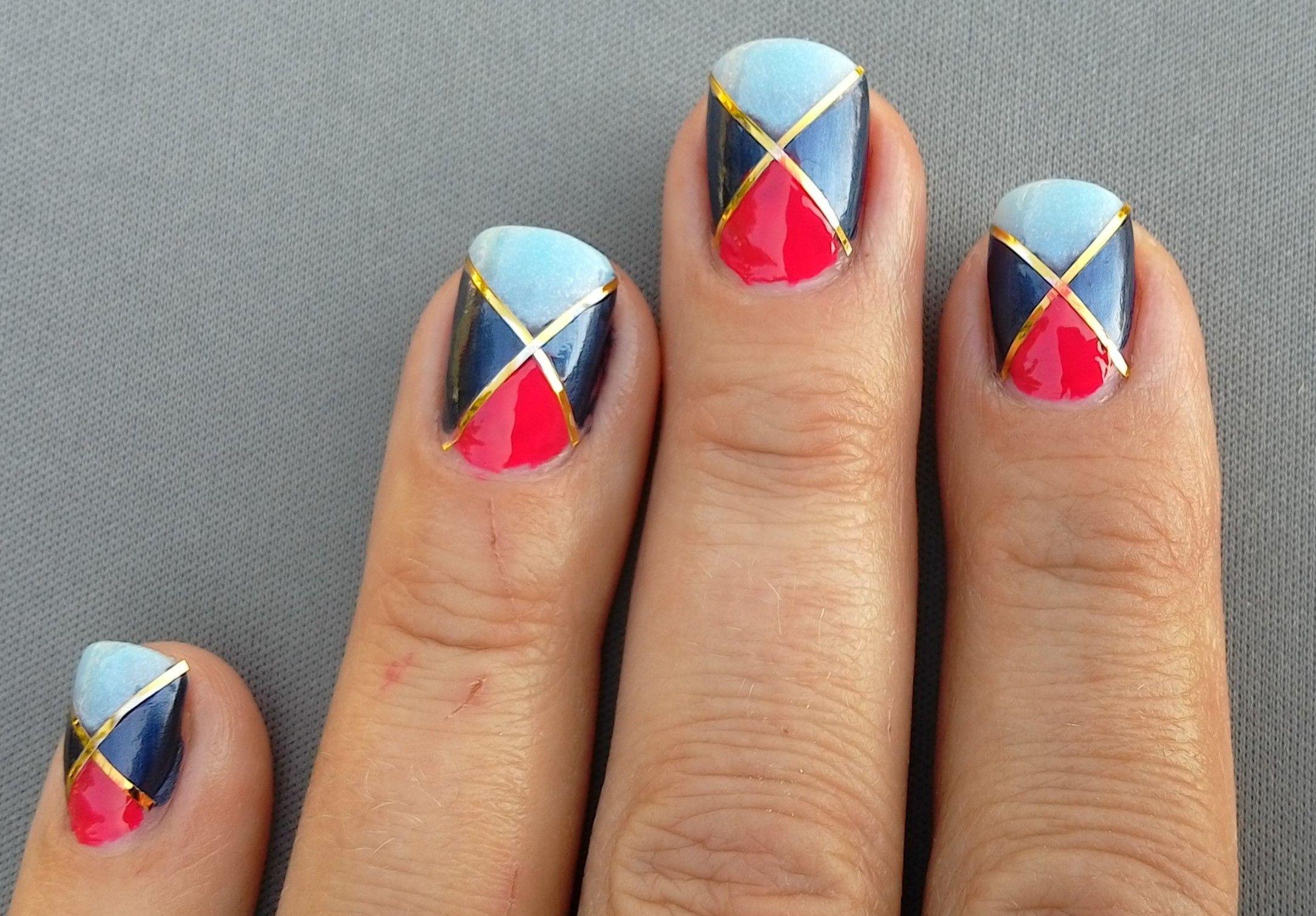 Color blocked tape nail art nail art nails