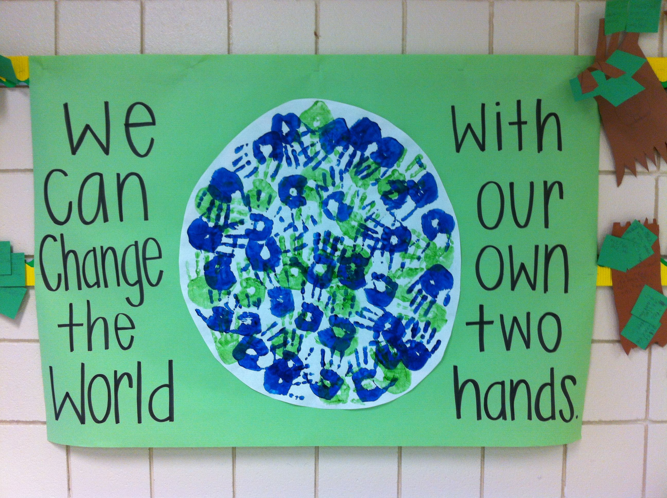 earth day handprint activity.. made this with my second graders ...