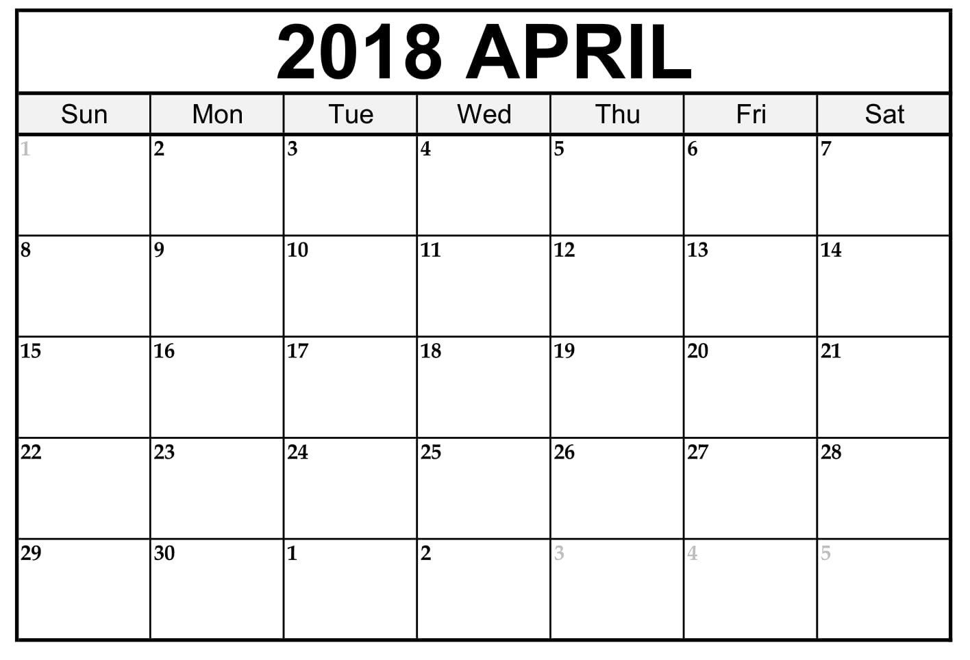 Free 5 April 2018 Calendar Printable Template Source Template