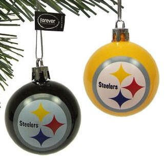 Pittsburgh Steelers Christmas Tree Ball Ornament Set 12 Official Nfl