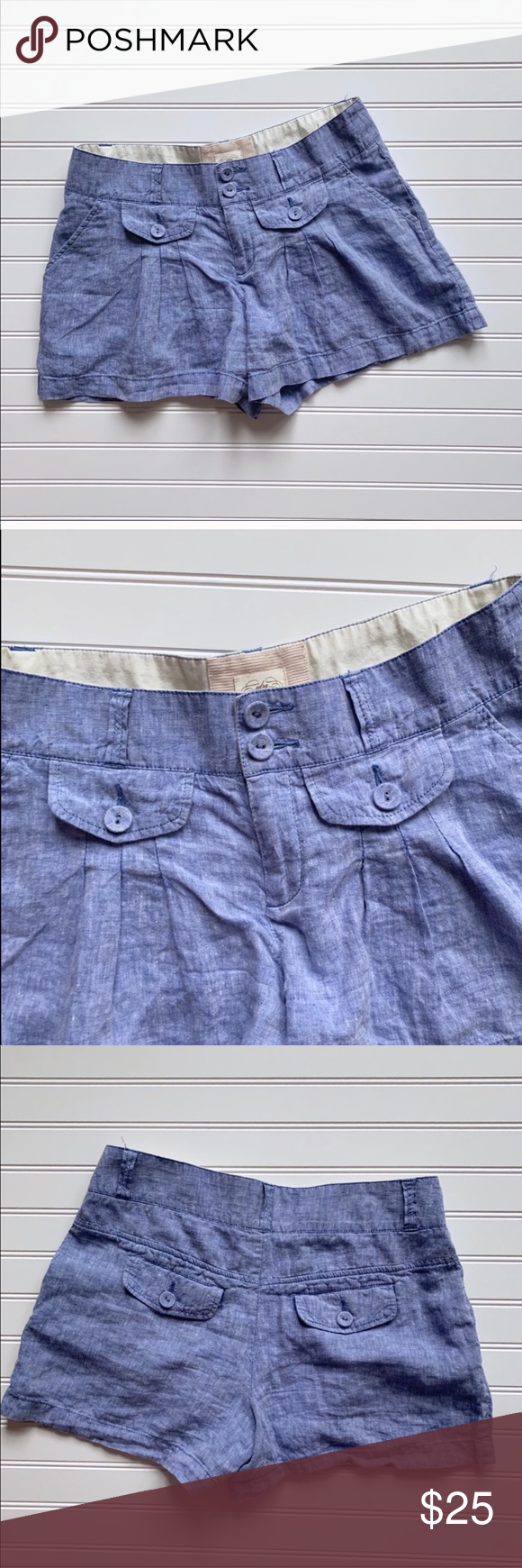 Cidra Anthro 100% Linen Light Blue Shorts Size 6 Excellent preowned condition. Cidra (Anthropologie) linen shorts with front button accents. Two pockets in front and two in back.   100% Linen Machine Wash Cold Anthropologie Shorts #lightblueshorts