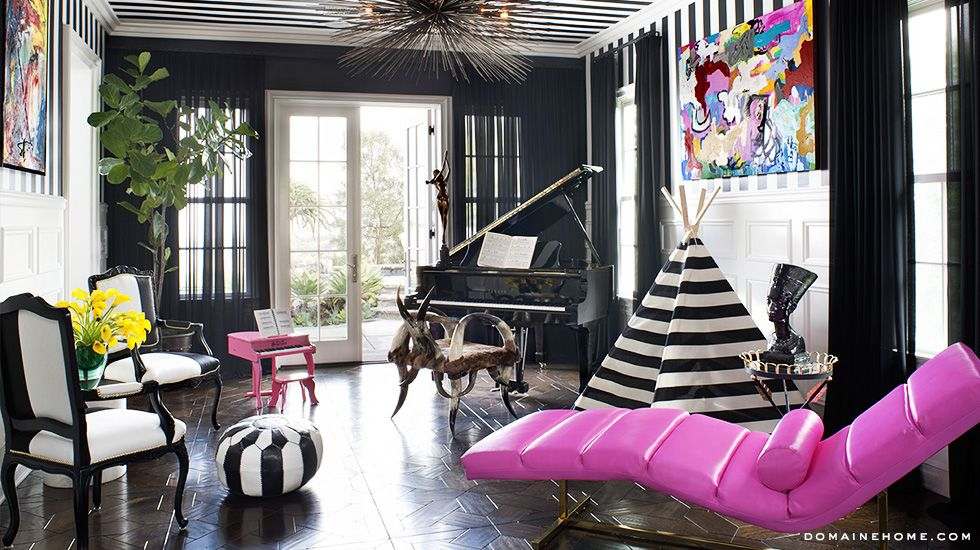 Black And White Living Room With Piano And Vibrant Purple Lounge Chair