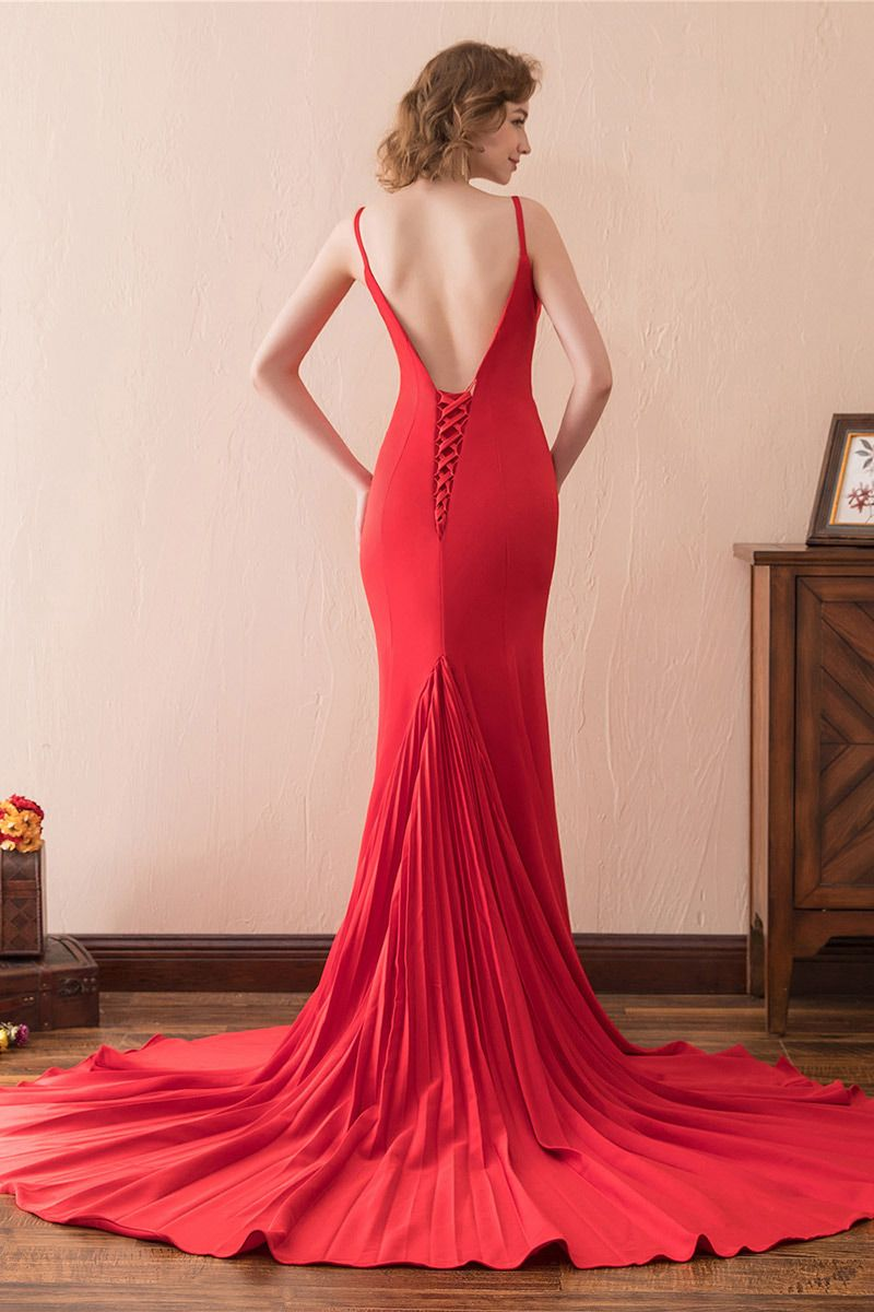 Simple Long Red Trumpet Semi Formal Dress Fitted With Train CH