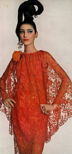 Benedetta Barzini Is Wearing A Tangerine Lace Evening