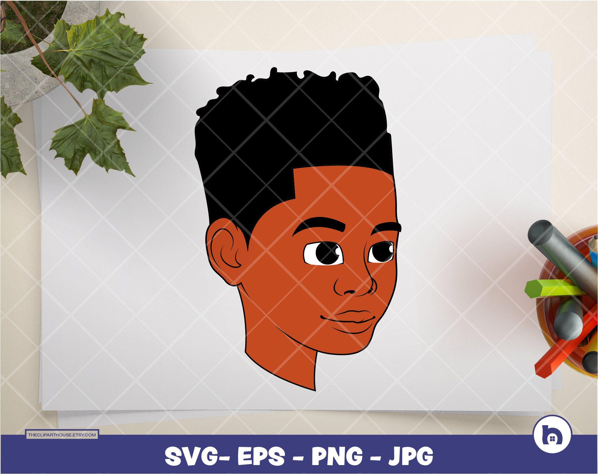 Clip Art And Svg For All Your Needs Black Boy Digital Svg Eps Png Jpg Instant Download Black Kid Svg Afro Kid H Svg Kids Black Boys Digital Svg