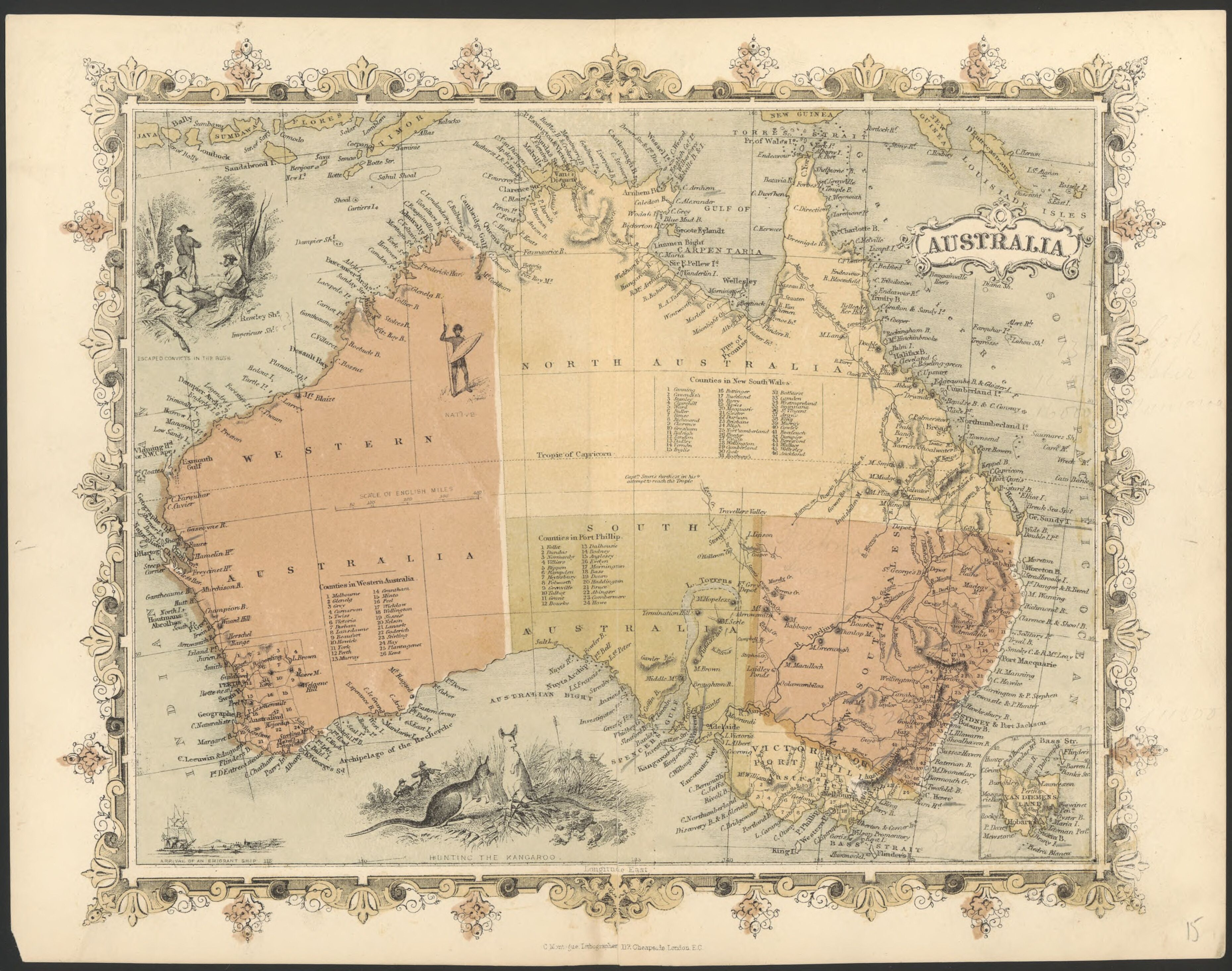 1860 map of Australia. Includes illustrations: Escaped convicts in ...