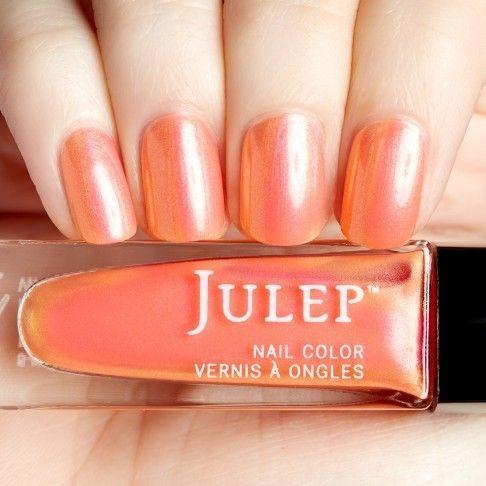 Summer {cantaloupe sheer iridescent nail polish}