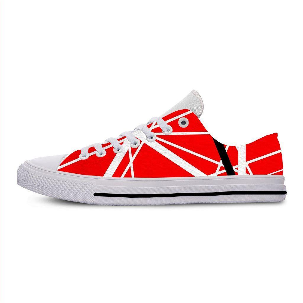 Evh 5150 Stripes Sneakers Eddie Van Halen Low Top Shoes Men Woman Eu 36 46 In 2020 Sneakers Striped Sneakers Canvas Shoes