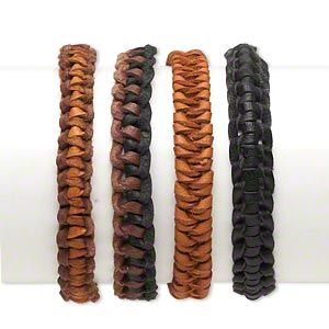 Bracelet mix, leather (dyed), brown / black / tan, 10mm wide, adjustable up to 12 inches with tie closure. Sold per pkg of 4.