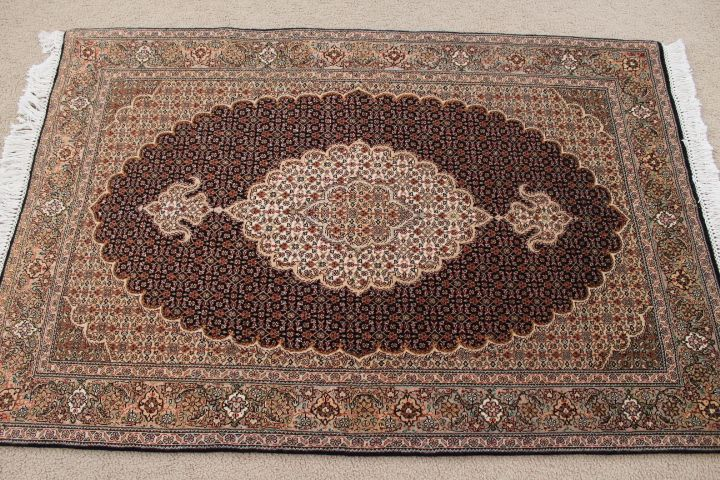 Tabriz Mahi Persian Rug 3x4 Dark Colored Carpet With Kurkwool Silk