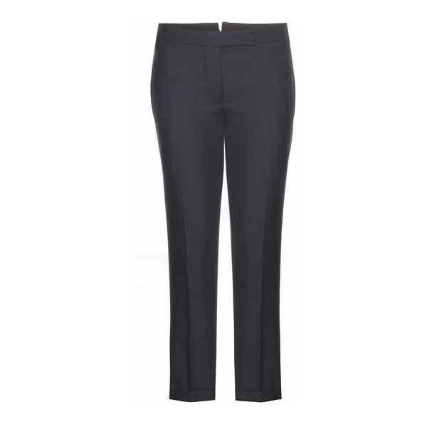 Thom Browne Cropped Wool Trousers ($840) ❤ liked on Polyvore featuring pants, capris, navy crop pants, navy pants, woolen pants, thom browne and cropped capri pants