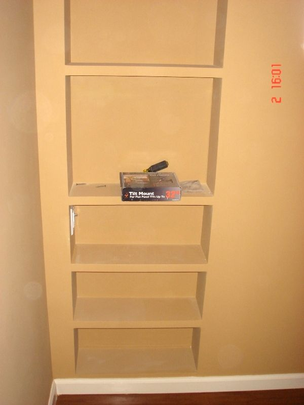 Built-in Wall Shelves: Demolition wall; frame inside of wall with ...
