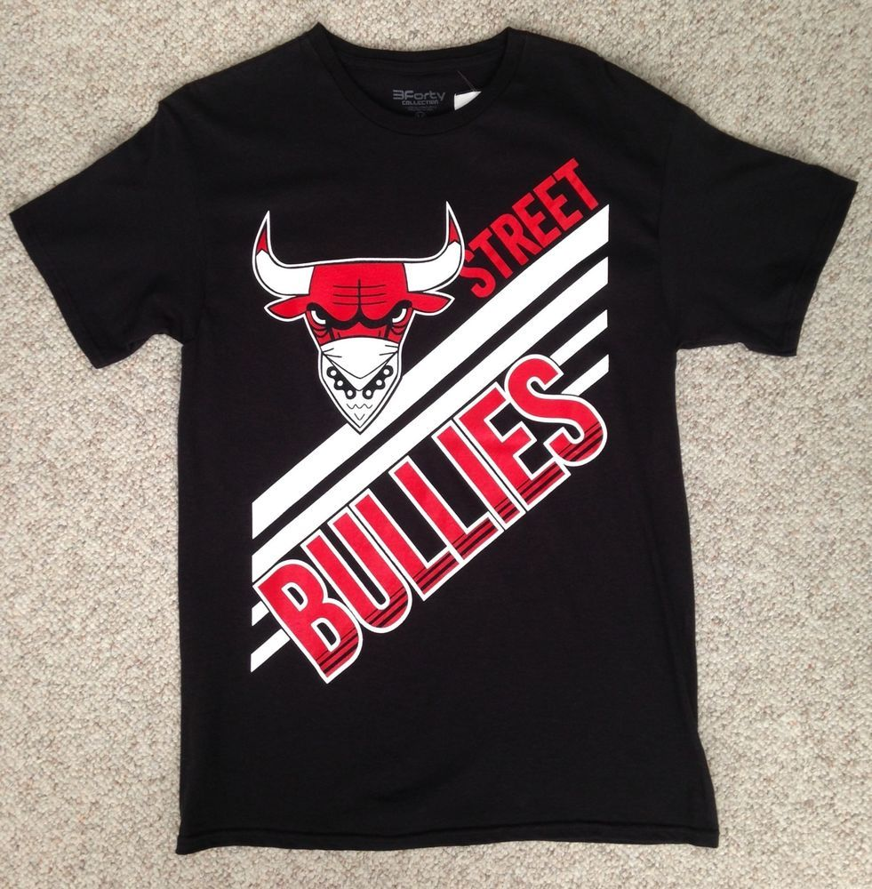 New Adult(Men Med) STREET BULLIES T-SHIRT Black Red White Big Logo Chicago  Bulls  3FortyColletion  GraphicTee 497e59d9225c