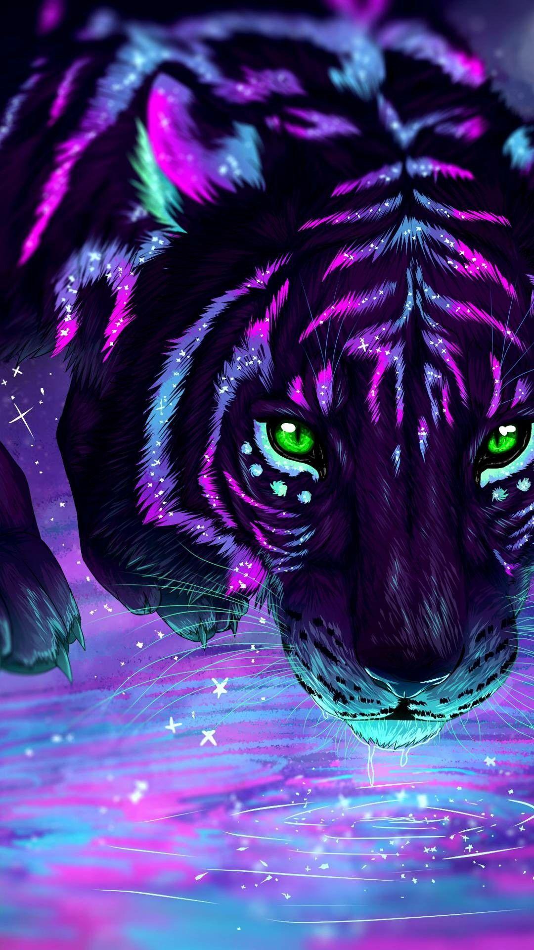 Magical tiger, black, blue, pink, purple, green | Magical