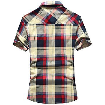 outdoor casual cotton plaids printing chest pockets dress