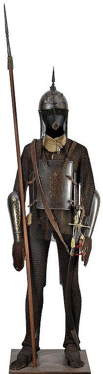 Indian armor, khula-khud (helmet), char-aina (chahar-aina, chahar a'ineh), literally the four mirrors, chest armor with four plates, dastanas/bazu band (vambrace/arm guards), zirah (mail shirt) and zirah pajama (mail trousers).