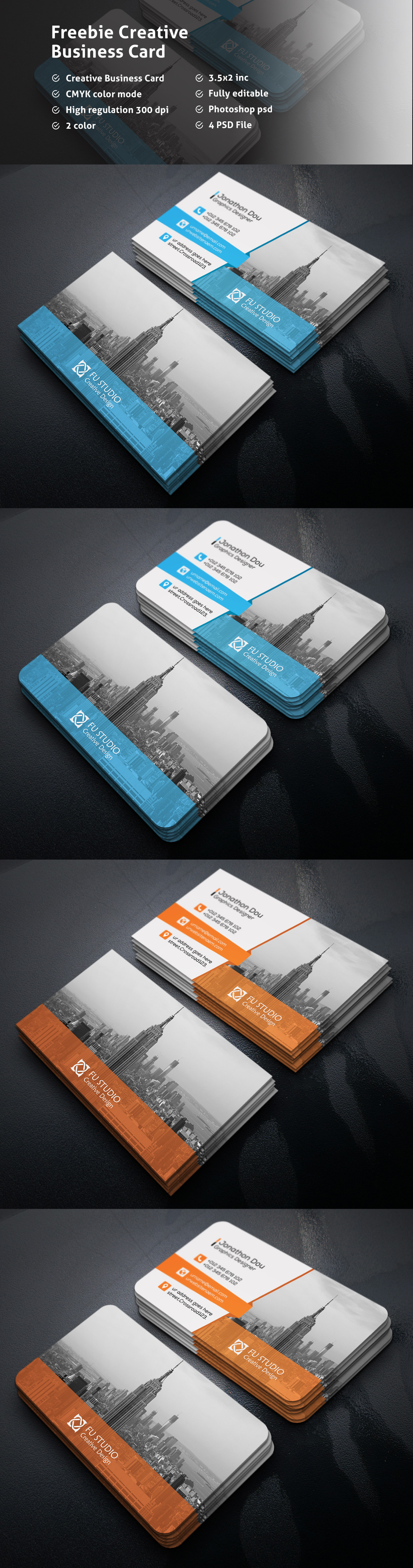 Fantastic Business Cards PSD Templates for Free - Stylish Blue ...