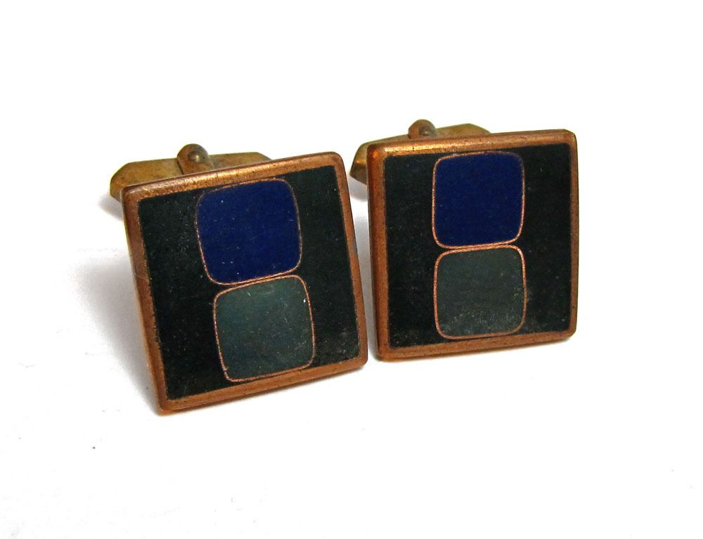 Vintage-Manschettenknöpfe, geometrisch, Matt-Emaille in Grün- und Blau-Tönen, 60er Jahre