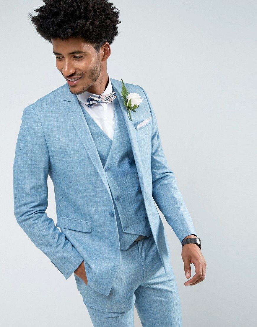 ASOS Wedding Skinny Suit Jacket in Crosshatch Nep In Light Blue With ...