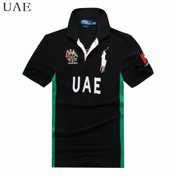 Ralph Lauren Men Flag Big Pony Polo Short Sleeve UAE Black   DUBAI ... 30bfef13c247