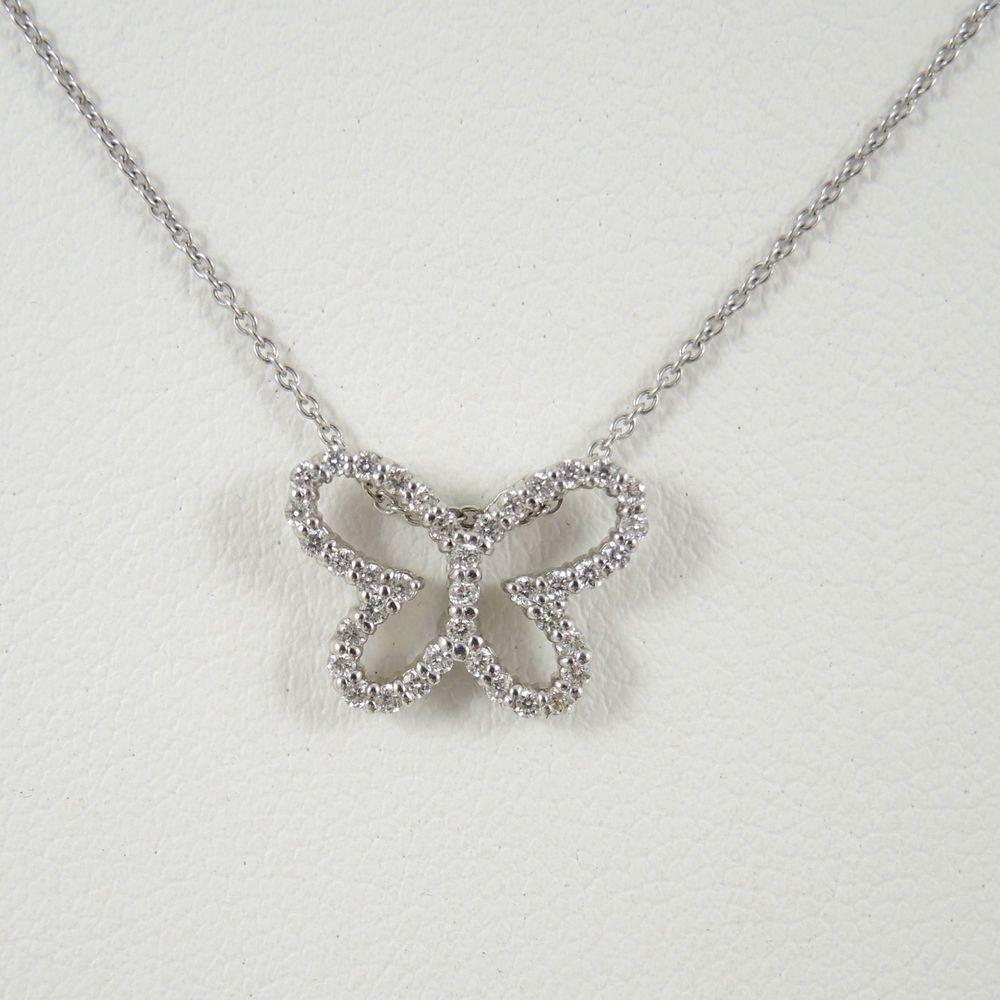 ROBERTO COIN 18K WHITE GOLD .22TCW DIAMOND BUTTERFLY TINY