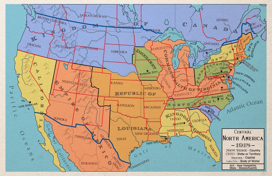 Alternate United States Map.Maps Of An Alternate North America That Never Became The United