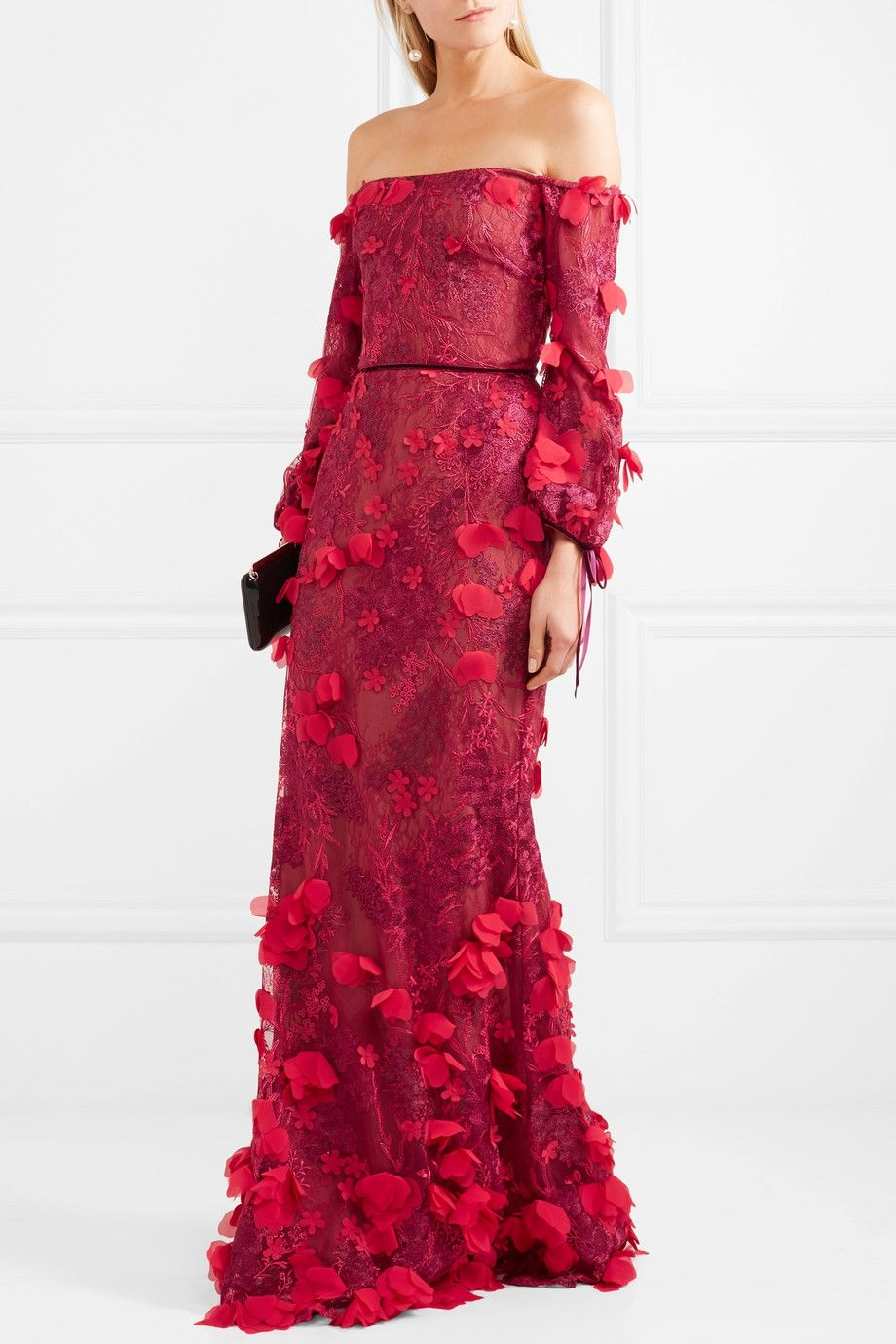 914352c0 Marchesa Notte | Off-the-shoulder embroidered tulle gown | NET-A-PORTER.COM