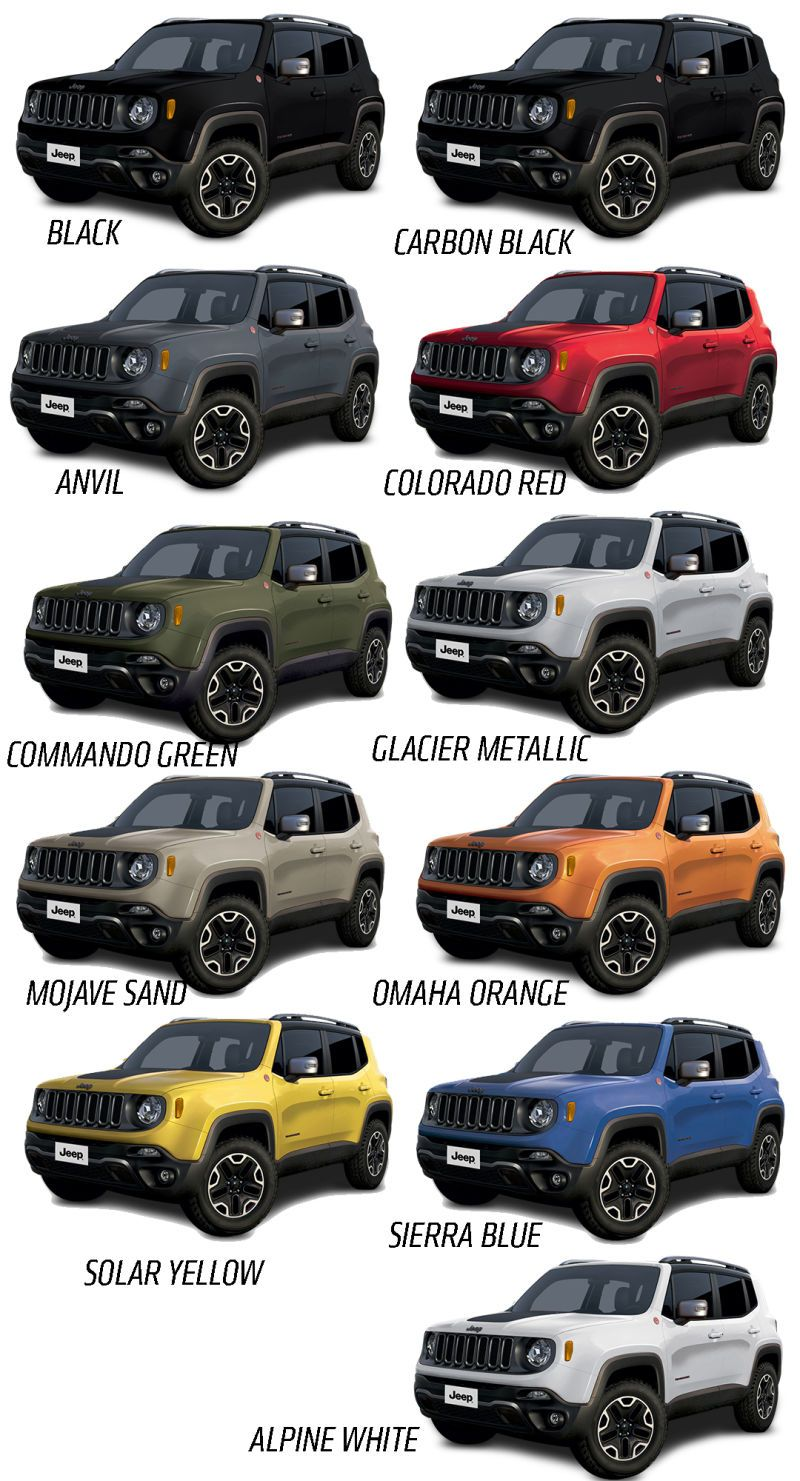 image result for jeep renegade colors jeep renegade 2019 jeep wrangler rubicon color options