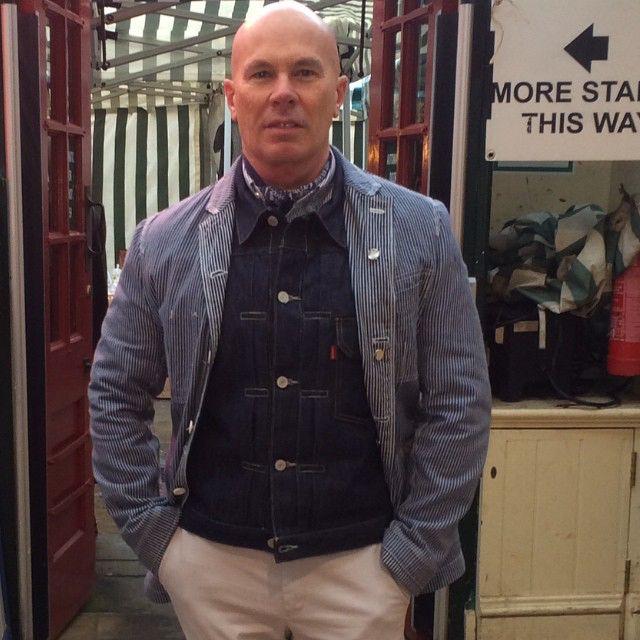 Layered #junyawatanabe #levis #denim #workwear #bandana #type1truckerjqcket #denim jacket #menstyle