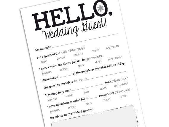 Funny Wedding Reception Icebreaker Cards, Entertain Your Guests ...