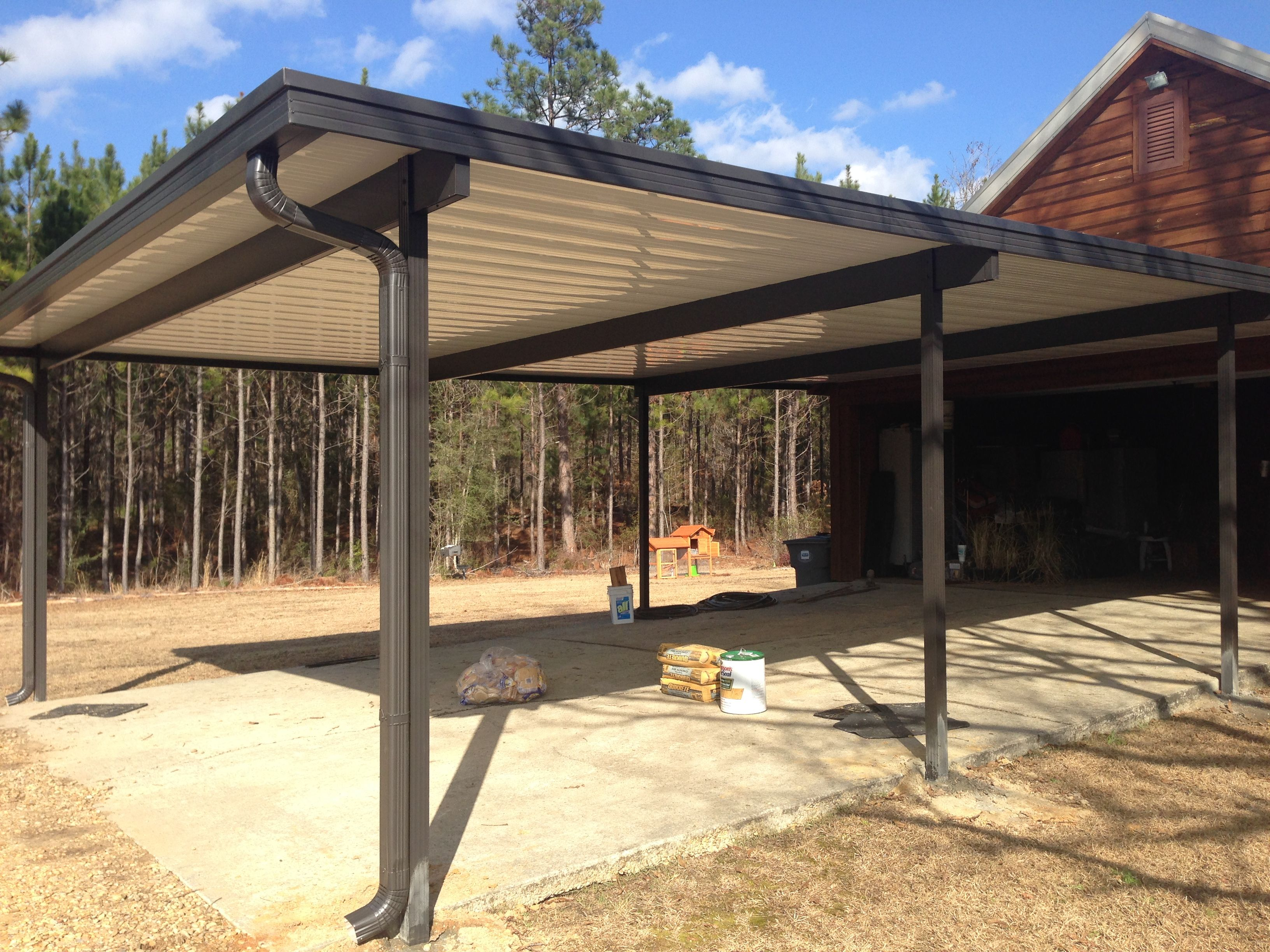 22 By 30 White Top Carport With 6 Bronze Beams Bronze Rain Gutters And Downspouts And 4 Bronze Posts Set Into C Rustic Pergola Aluminum Carport Pergola