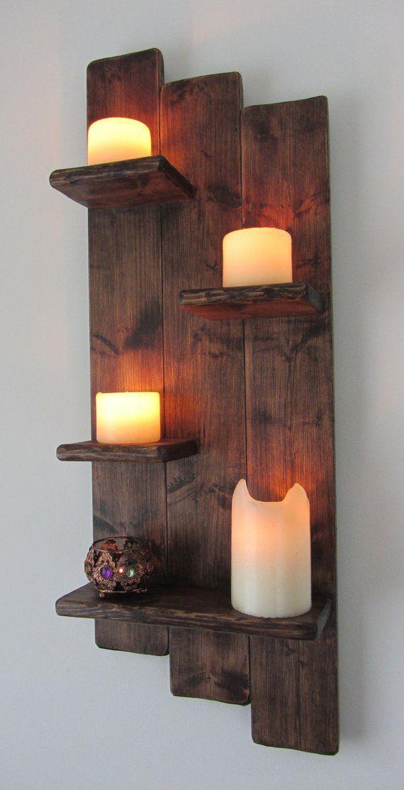 82 cm tall Shabby Chic rustic reclaimed wood 4 tier floating shelf / trinket shelves / display shelf