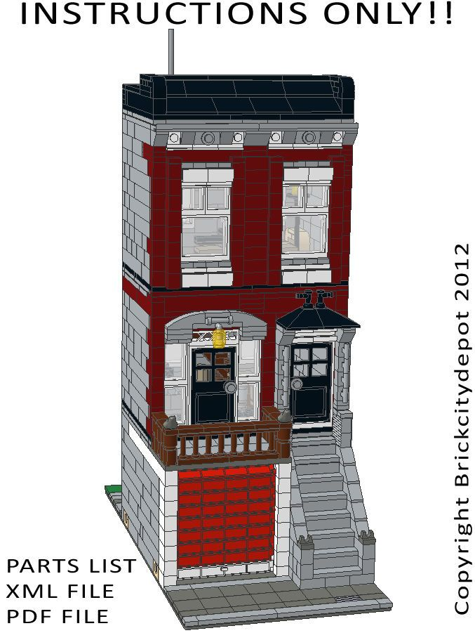 Lego Custom Modular Building City Townhouse Instructions Only
