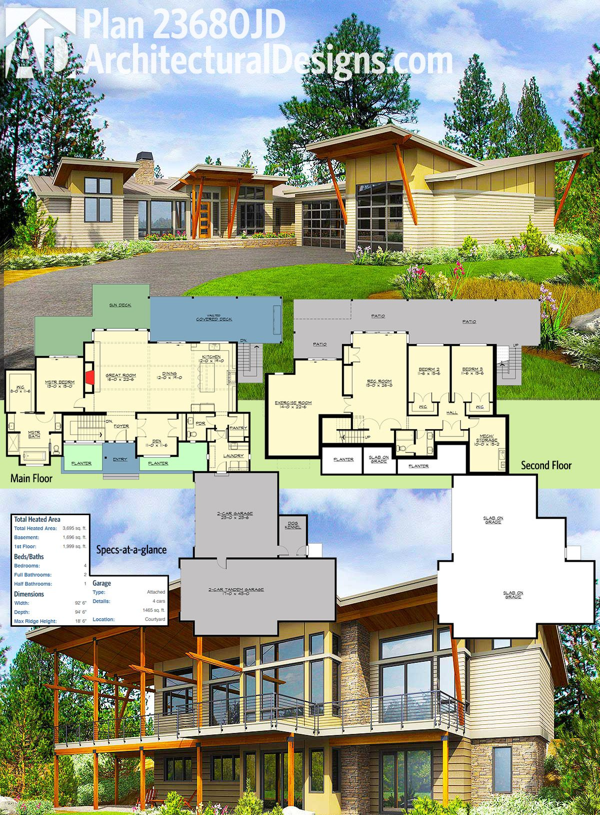 Plan 23680jd Stunning Modern House Plan With Deck And Vaulted Porch In Back Modern House Plans Modern House Plan Modern House