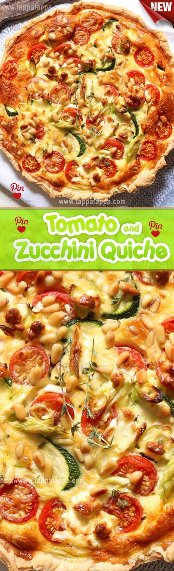 Tomato and Zucchini Quiche Its simple like enough as quiches goshallots shredded zucchini an assortment of colorful cherry tomatoes basil and herbs with a custard base of...