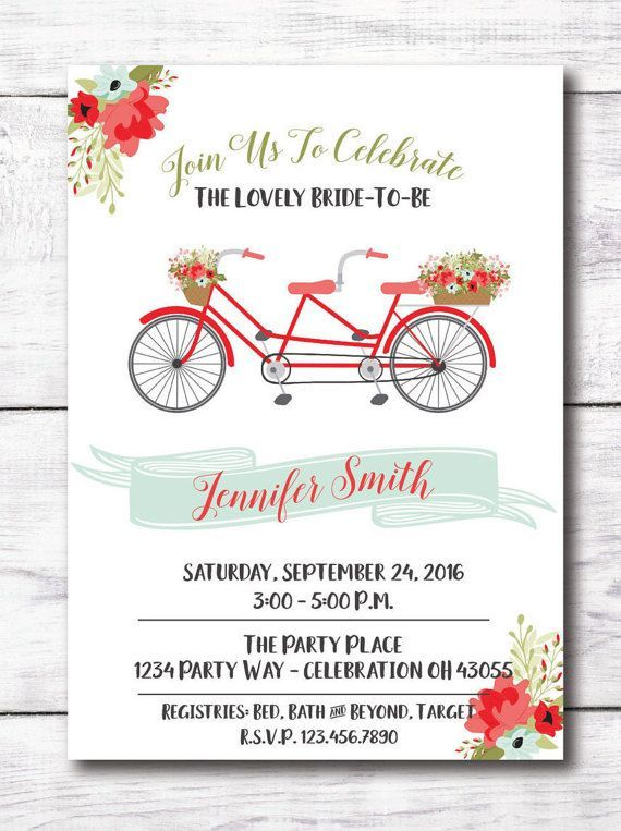 Coral mint bridal shower invitation bicycle bridal shower bicycle bridal shower invitation bike for two mint coral olive floral filmwisefo Choice Image