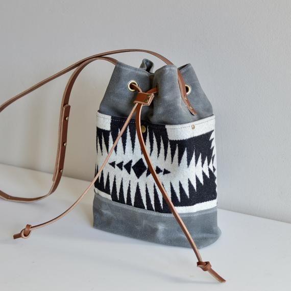 3e1c482de Bucket Bag Made with Pendleton® Fabric and Waxed Canvas / Canvas Bucket Bag  / Purse Made with Pendleton® Fabric / Waxed Canvas Purse