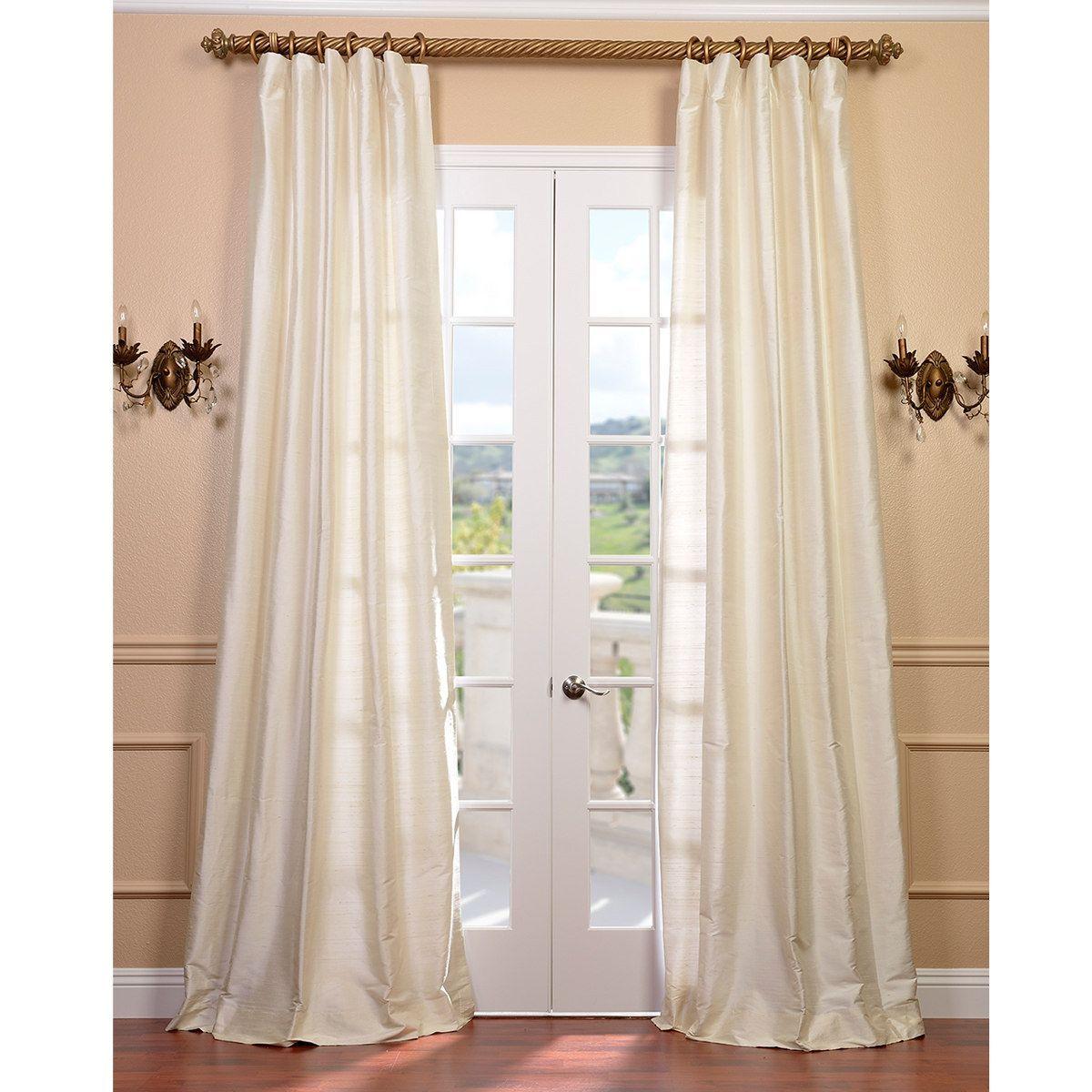 Exclusive Fabrics Signature Pearl White Textured Silk Curtain 120