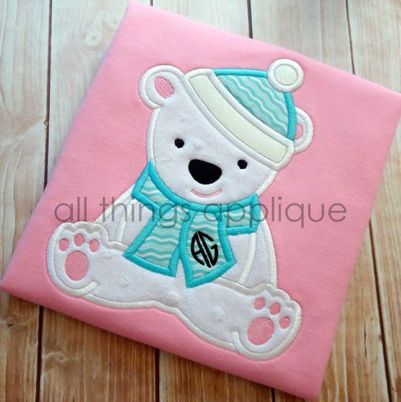Polar Bear with Scarf Applique (579) - Winter Applique Design - 4 Sizes - INSTANT DOWNLOAD