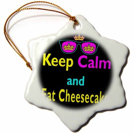 3dRose Cmyk Keep Calm Parody Hipster Crown And Sunglasses Keep Calm And Eat Cheesecake, Snowflake Ornament, Porcelain, 3-inch