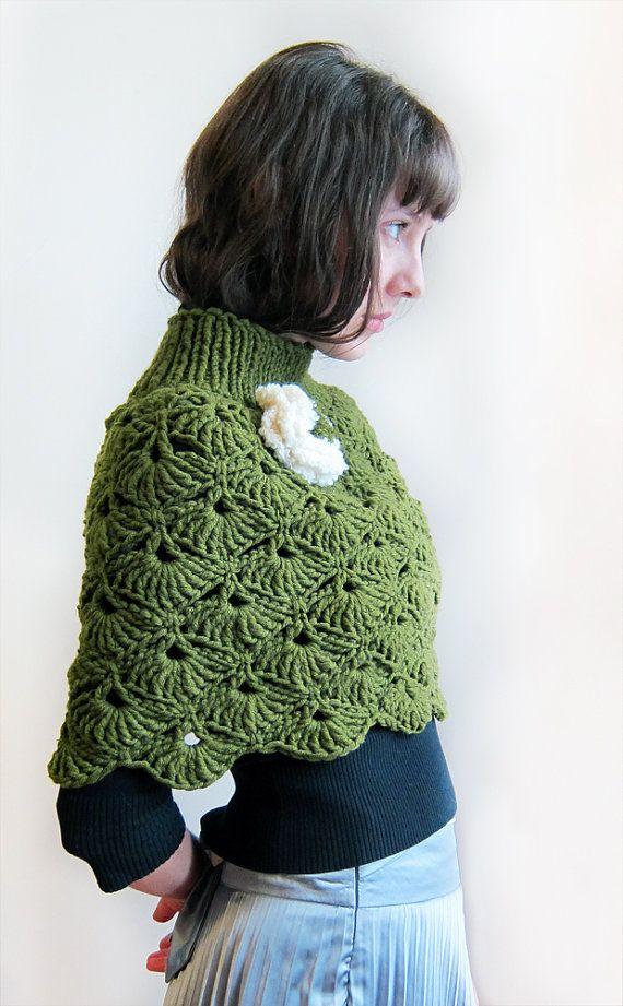 Hand crochet Capelet in green for a Lady | Patrones Libres De ...