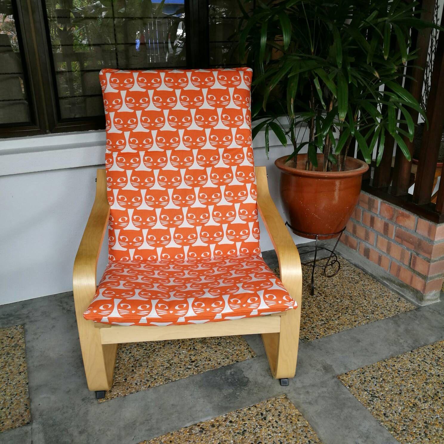 IKEA Poang Chair Cushion Cover Orange Kittens