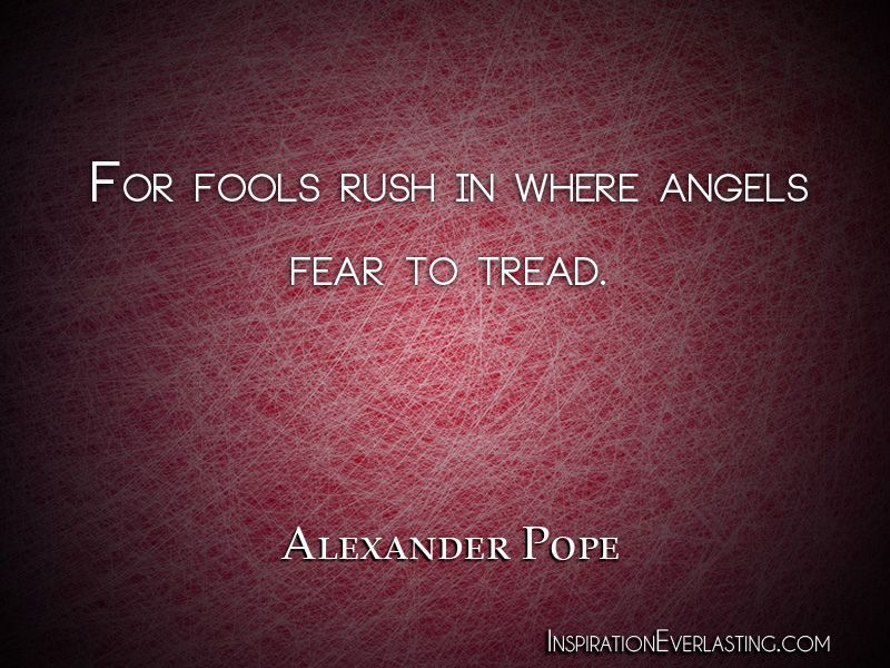 For Fools Rush In Where Angels Fear To Tread Alexander Pope Http Bit Ly Gbghmf Alexander Pope Find Real Love Philosophy Quotes