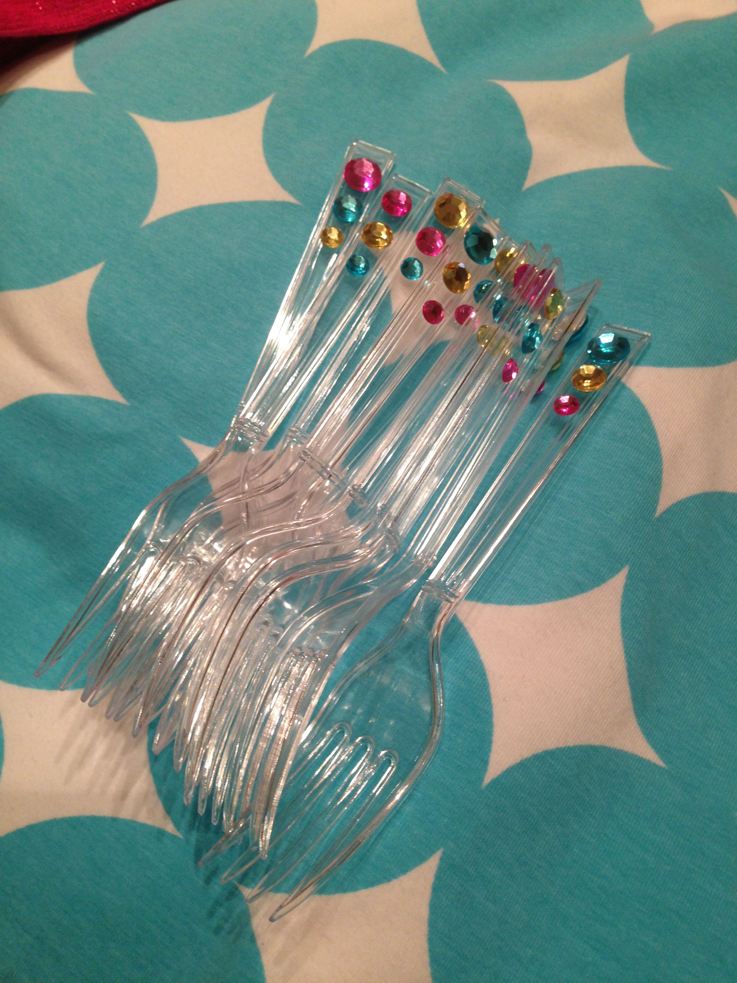 Rhinestones plus plastic forks! | Various party themes and ideas ...