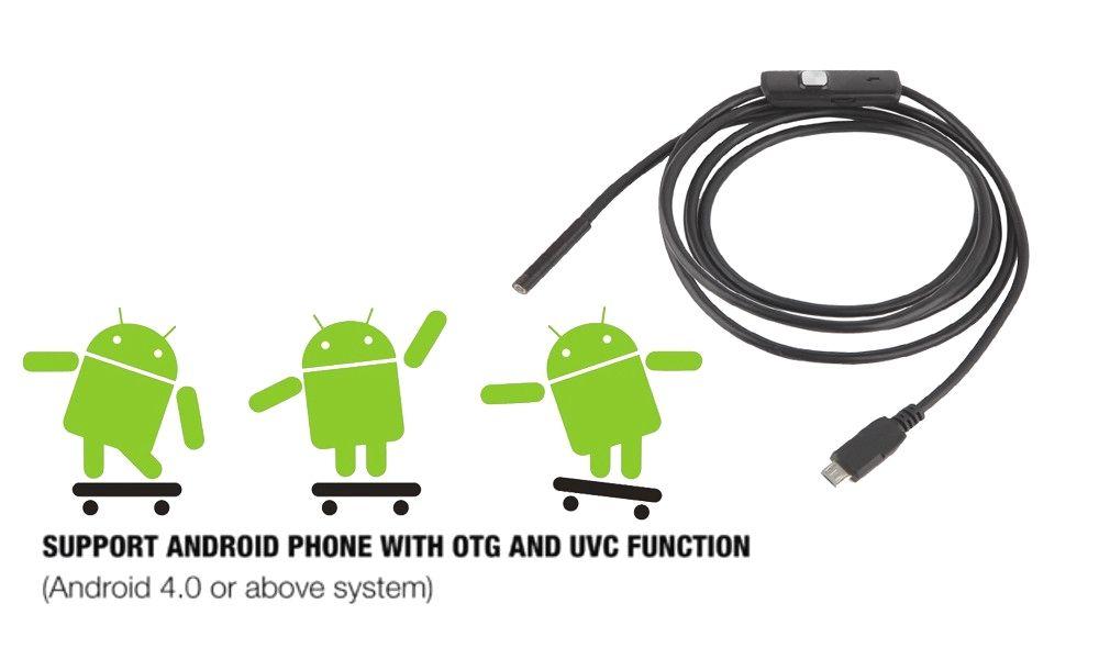 Android phone micro usb endoscope camera 55mm lens 6led