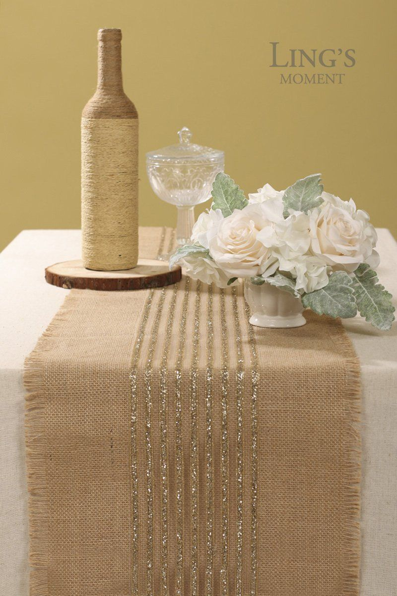 Lings moment 14 x 72 inches Sparkly Glitter Champagne Gold