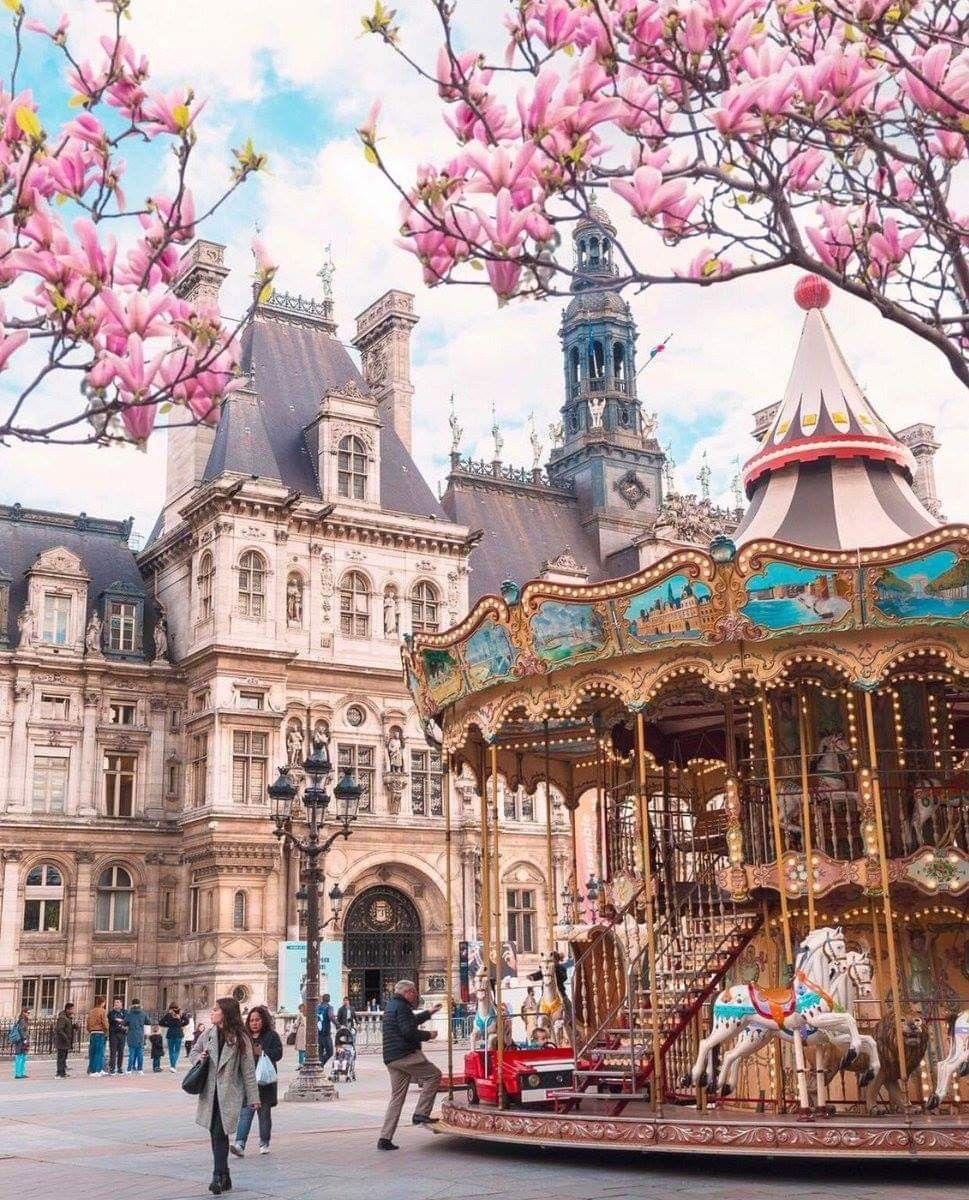 Carousel in front of the Hotel de Ville, Paris, France