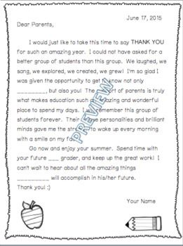 End of School Year Thank You Letter to Parents (Editable